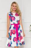 Cumpara ieftin Rochie alba cu imprimeu floral maxi in nuante vibrante