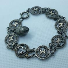 BRATARA argint EXCEPTIONALA finuta VECHE cu aplicatii AUR delicata SPLENDIDA rar