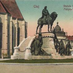 Carte postala Cluj - Statuia Mateiu Corvin interbelica