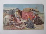 Carte postala Egipt-Targ(balci,iarmaroc) la Giza circulata 1907