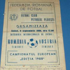 Program meci fotbal ROMANIA (tineret) - AUSTRIA (tineret) 09.09.1986
