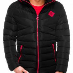 Geaca pentru barbati negru ideal ski de iarna cu gluga si fermoar model slim c363