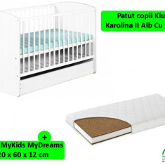 Patut Cu Sertar KLUPS Karolina II Alb + Saltea 12 MyKids MyDreams