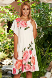 Cumpara ieftin Rochie StarShinerS alba eleganta de zi din voal cu maneci tip fluture si imprimeu floral
