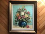 Tablou,pictura franceza in ulei pe panza,vaza cu flori,semnata, Altul