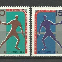 Iugoslavia 1965 - tenis de masa, serie neuzata