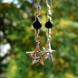 Cercei argint Pentagrama neagră