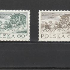 Pictura ,ziua marcii 1964 ,postalion ,cai,,Polonia., Arta, Nestampilat