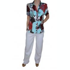 Pantalon lung masura mare, de culoare alba, model de vara