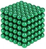 Joc Puzzle Antistres NeoCube cu Bile Magnetice 216 Bucati, Diametru Bile 3mm, verde