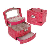 Caseta bijuterii Crocodile Style Pink