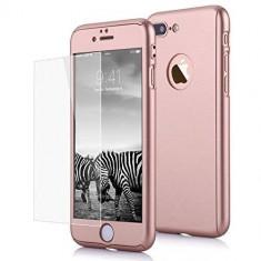 Husa protectie pentru iPhone 7 Rose-Auriu Fullbody fata-spate cu folie de sticla gratis