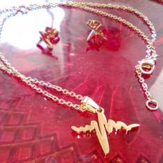Set inox auriu model cardio, cercei si colier cu pandant
