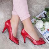 Pantofi Piele Rafida rosii decupati