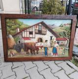 Tablou din lemn de dimensiuni mari, sculptat si pictat manual,100 x 60 cm