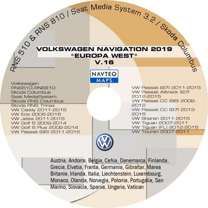 Harti Noi Navigatie VOLKSWAGEN RNS 510 , EUROPA VEST V 16 2019 +