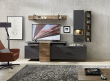 Set de mobila living din pal si MDF, 6 piese Madeline Havel Oak Cognac / Grafit