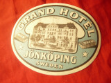 Eticheta Reclama Grand Hotel Jonkoping Suedia , interbelica