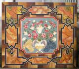 Pictura populara Flori Struguri, austriaca, ulei pe lemn, Bauernmalerei, Natura statica, Altul