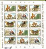 Colite Flora si fauna din rezervatii naturale din Europa (blocuri), 1983 - NEOBL, Protectia mediului, Nestampilat