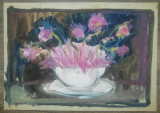 Natura statica, vaza cu flori// acuarela pe hartie