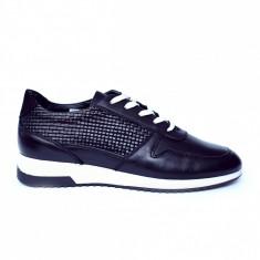 Pantofi dama din piele naturala cu model, Naty, Peter, Negru, 35 EU