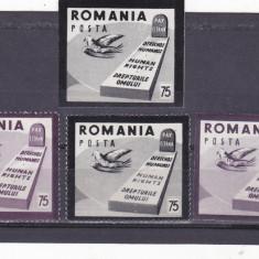 EXIL,ROMANIA-SPANIA,DREPTURILE OMULUI ,DANT + NEDANT,1954,MNH