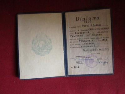 diploma inginer facultatea de chimie industriala an 1953 x14 foto