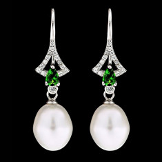 Cercei din Argint 925 cu Perle Naturale si Diamante, Angel