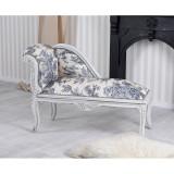 Sofa din lemn masiv gri cu tapiterie alba cu albastru CAT508K33, Sufragerii si mobilier salon, Baroc