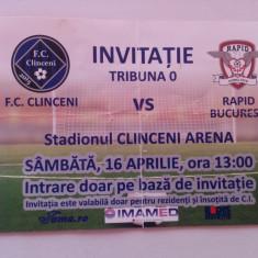 Invitatie meci de fotbal: FC Clinceni - Rapid Bucuresti (16.04.2017)