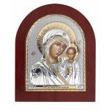 Icoana Maica Domnului de la Kazan Foita Argint 925 Auriu 15.6x19cm COD: 2463