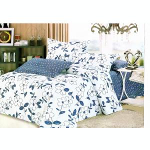 Lenjerie de pat din Microfibra bleu si cu model cu frunze F01A 01