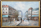 Tablou Peisaj citadin pictura in ulei inramat 66x96 cm, Marine, Realism