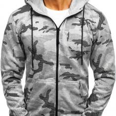 Bluză pentru bărbat cu glugă și fermoar camuflaj-gri Bolf DD131