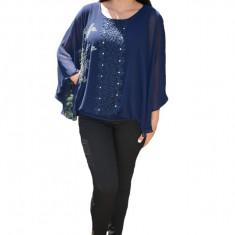 Bluza dama eleganta ,model cu flori din strasuri,nuanta de bleumarin