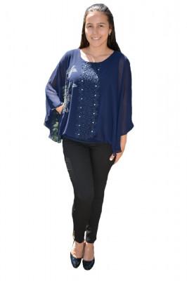 Bluza dama eleganta ,model cu flori din strasuri,nuanta de bleumarin foto