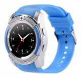 Ceas Smartwatch V8 Albastru HandsFree Bluetooth 3.0 Micro SIM Android Camera 1.3MP