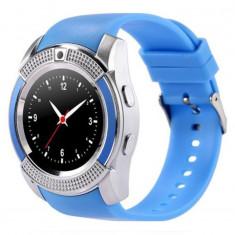 Ceas Smartwatch V8 Albastru HandsFree Bluetooth 3.0 Micro SIM Android Camera 1.3MP