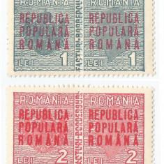 România, lot 115 cu 2 timbre fiscale comerciale, Mihai, cu supratipar, 1948, MNH
