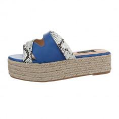 Papuci sic, albastri, cu platforma, 37 - 40, Albastru