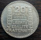 (A53) MONEDA DIN ARGINT FRANTA - 20 FRANCS FRANCI 1933, 20 GR, PURITATE 680/1000