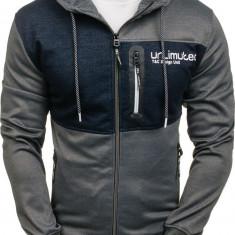 Bluză pentru bărbat cu glugă și fermoar gri-bluemarin Bolf 2104