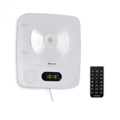 Auna Vertiplay, CD player, bluetooth, lumină de noapte, FM radio, ceas digital, AUX, alb foto