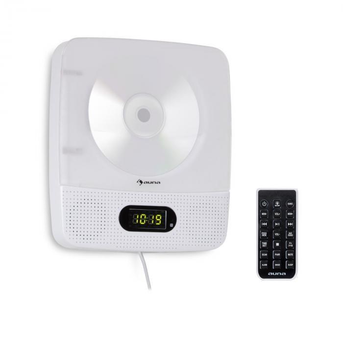 Auna Vertiplay, CD player, bluetooth, lumină de noapte, FM radio, ceas digital, AUX, alb