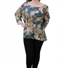 Bluza cu mânecă trei-sfert masuri mari, cu imprimeu floral și trena