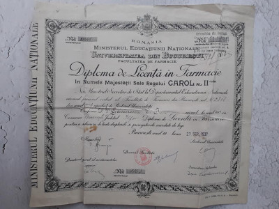 Diploma licenta farmacie 1937 Ion Gavanescul Bucuresti foto