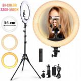 Cumpara ieftin Lampa Circulara Make-up Profesionala, Ring Light 53 CM si 480 LED- uri cu Lumina Rece si Calda Tip Inel, cu Trepied 200cm, Adaptor, 2 Telecomenzi, Pen