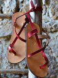 Cumpara ieftin Sandale Dama Model Traveller Piele Naturala Rosu - Curele Complet Ajustabile