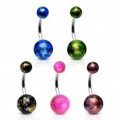 Piercing pentru buric din oțel 316L - bile colorate, cu reflexe aurii